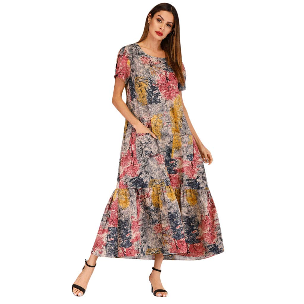 Women Vintage Retro Short Sleeve Print Pockets Party Dress Prom Swing DressGirls' Fashion by Youngh Khaki