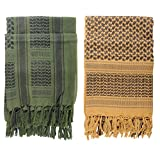 Micoop Premium Military Shemagh Tactical Desert Scarf Wrap(2 Pack) (Military green and Coyote Brown)
