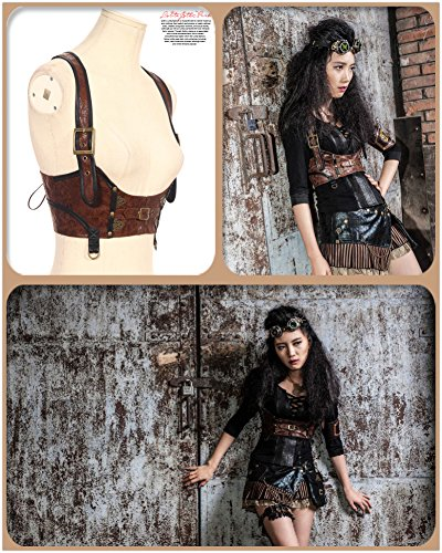 Punk Devil Girl Costume (HaoLin Steampunk Costumes Clothing Vintage Christmas Outfits Vest Top Corest Bustier (XX-Large))