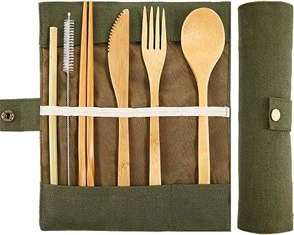 BETOY Juegos de Cubiertos Bambú Set de Utensilios de Viaje, Utensilio de Bambú Reutilizable Tenedor Cuchillo Cuchara Palillos Cepillo de Limpieza de ...