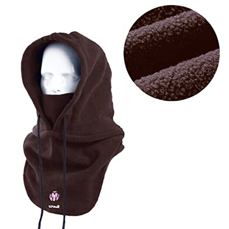 eef4ca9fd8e Multipurpose Use Thermal Fleece Hooded Balaclava Warm Ski Bike Wind Stopper  Full Face Mask Neck Warmer for Winter Outdoor Activities (Coffee):  Amazon.co.uk: ...