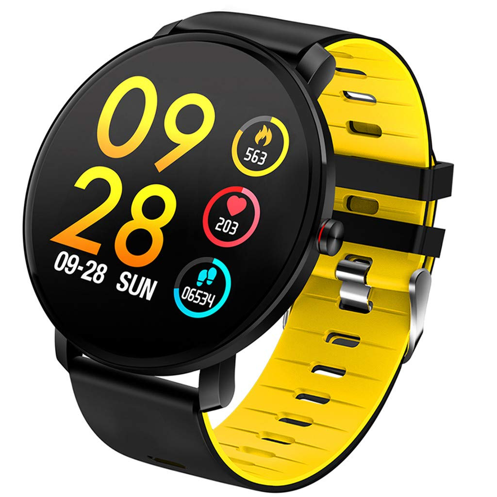 For Android & iOS, Waterproof Sport Smart Watch Fitness Heart Rate Tracker Blood Pressure Monitoring Smart Bracelet (Yellow)