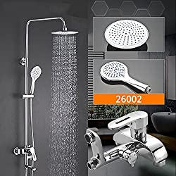 ETERNAL QUALITY Bathroom Sink Basin Tap Brass Mixer Tap Washroom Mixer Faucet Shower Spa detachable handheld shower-Stall Lift Rod large shower kit telescopic Stainless Steel Hose