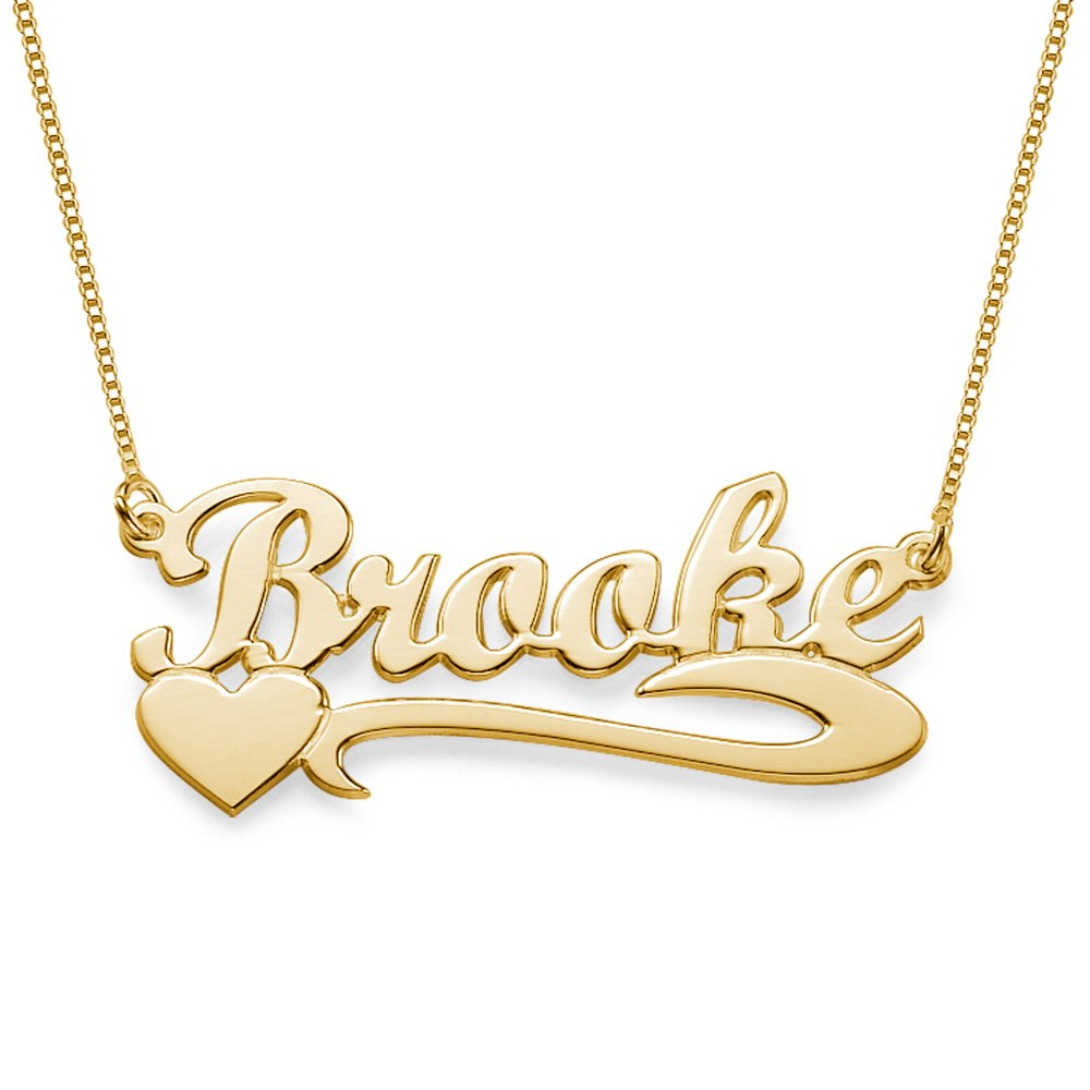 e8e643361927c Side Heart 18ct Gold Plated Name Necklace - Personalised with Any ...
