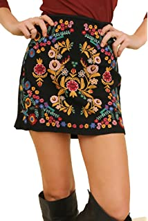 f881f8f71 Simplee Women's Bodycon Luxury Floral Embroidery Boho High Waist ...