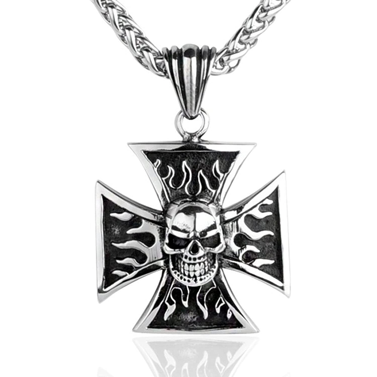 """Iron Cross Skull Fire Flame Silver Stainless Steel Vintage Pendant Necklace + 24"""" Chain"""