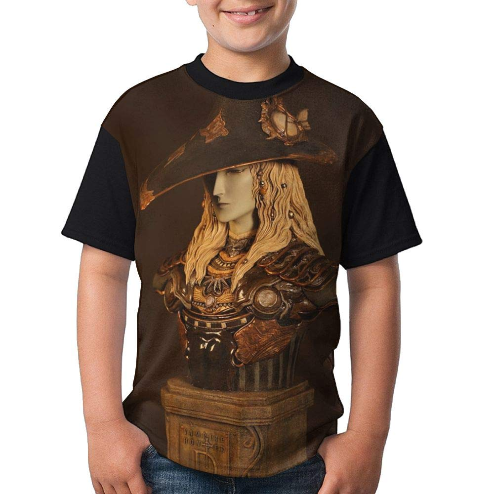 Knight Statue Youth Girl Graphic Short Sleeve Funny Round Neck Blouse X-Large