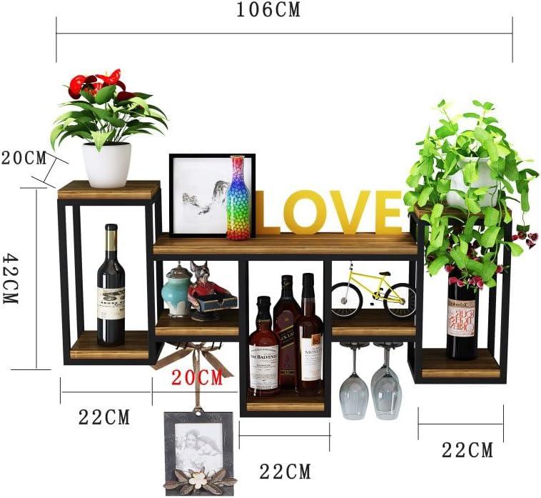 Weinst/änderl mit Glashalter |Weinflaschenhalter Wand aufgeh/ängt Schwarz Weinregale Holz mit glashalter Wandmontage Metall H/ängend Weinglashalter Regal Schiene Flaschenregal f/ür K/üche