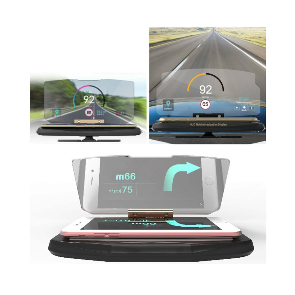HaloVa GPS Navigation Holder, Universal In-Car HUD Head-Up Display, Multifunctional Reflection Projector Mobile Phone Bracket for iPhone Samsung with All Smart Phones by HaloVa