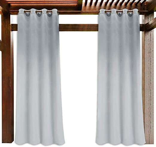 PONY DANCE Outdoor Blackout Curtain Single Piece Wide 52 by Drop 84 Mocha Heavy Duty Rust Proof Window Treatment Draperies for Gazebo Decortaive Outdoor Curtain for UV Protected