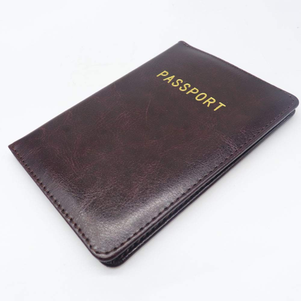 a79fa6678baa Watruer Passport Holder Cover Wallet RFID Blocking Leather Card Case Travel  Document Organizer for men women- Coffee