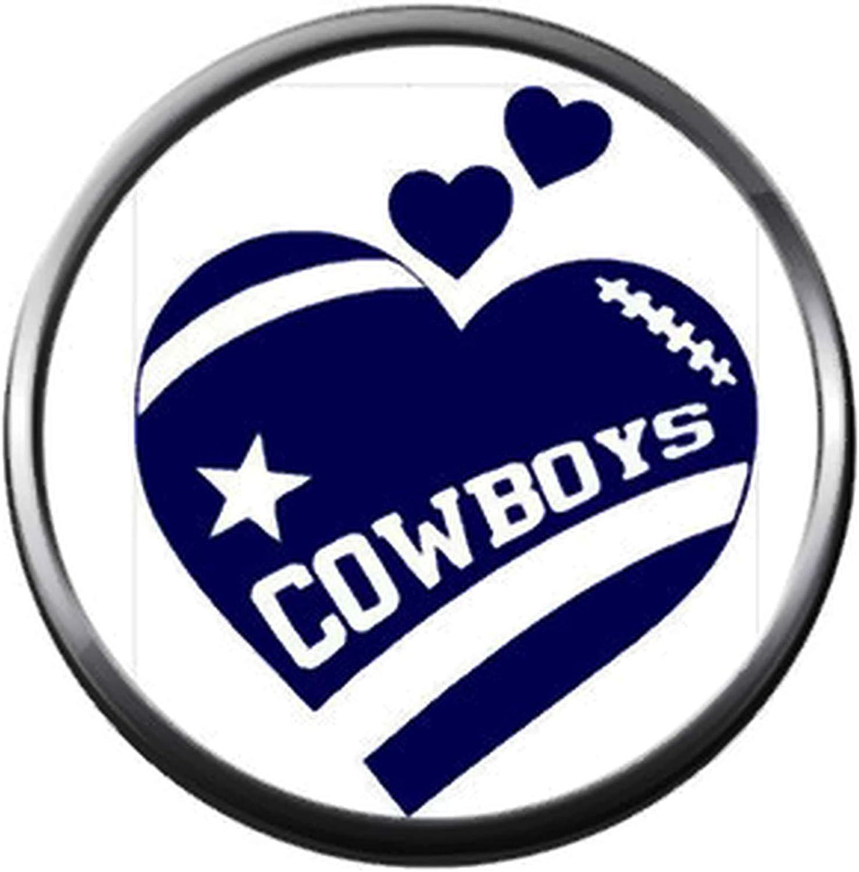 Dallas Cowboys football team crystal heart charm bangle bracelet or snake chain necklace
