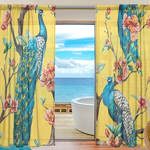 SEULIFE Window Sheer Curtain Tropical Flower Animal Peacock Tree Voile Curtain Drapes for Door Kitchen Living Room Bedroom 55x78 inches 2 Panels by SEULIFE
