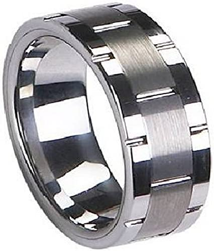 8MM Tungsten Carbide Wedding Band Ring Satined Center Grooved Edges