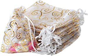 UHANGETH 100PCS Organza Bags Jewelry Party Wedding Favor Drawstring Pouches Gift Bags (3x4, Gold-White)