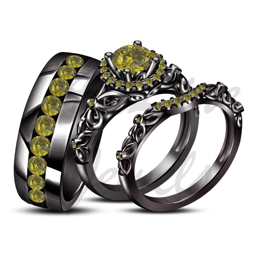 ArtLine Jewels 14K Black Gold His Her Round Peridot Engagement Wedding Band Trio Ring Set