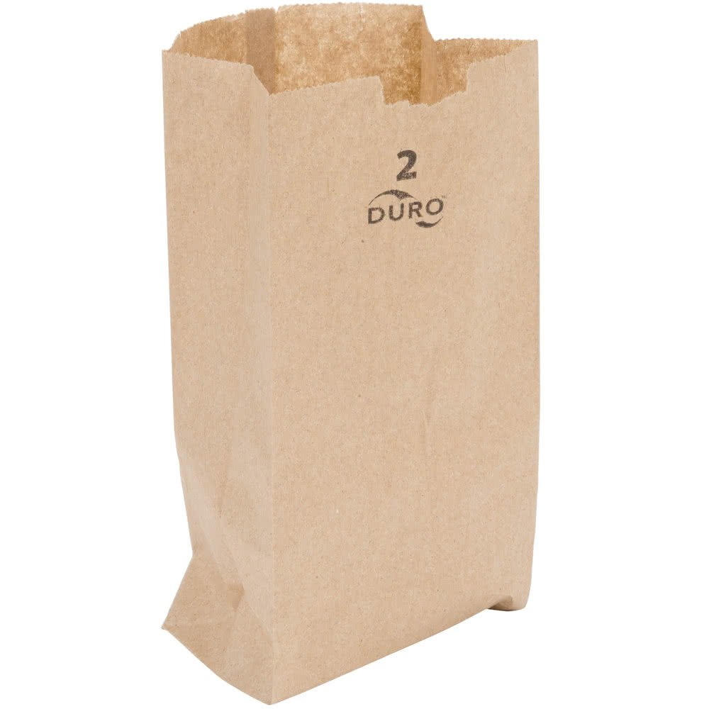"Duro 2 lb. Capacity 5 5/16"" x 2 /16"" x 7 7/8"" Kraft Brown Paper Bag - 30# Basis Weight 250 Ct."