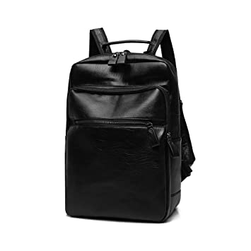 60496e3a5af0 Amazon.com  Leparvi Men backpack PU leather Laptop Backpack Fashion School  Shoulder Book bag Daypack (Black)  Leparvi Store