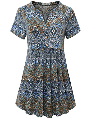 Vintage Blouse, Women's Notch V Neck Short Sleeve Knit Pullover Blouse Button Down Easy Fit and Flared Flattering Tunic Dress A Line Trapeze Tops For Holiday Geometric Blue XXL (Vintage Short Tunic Sleeve)