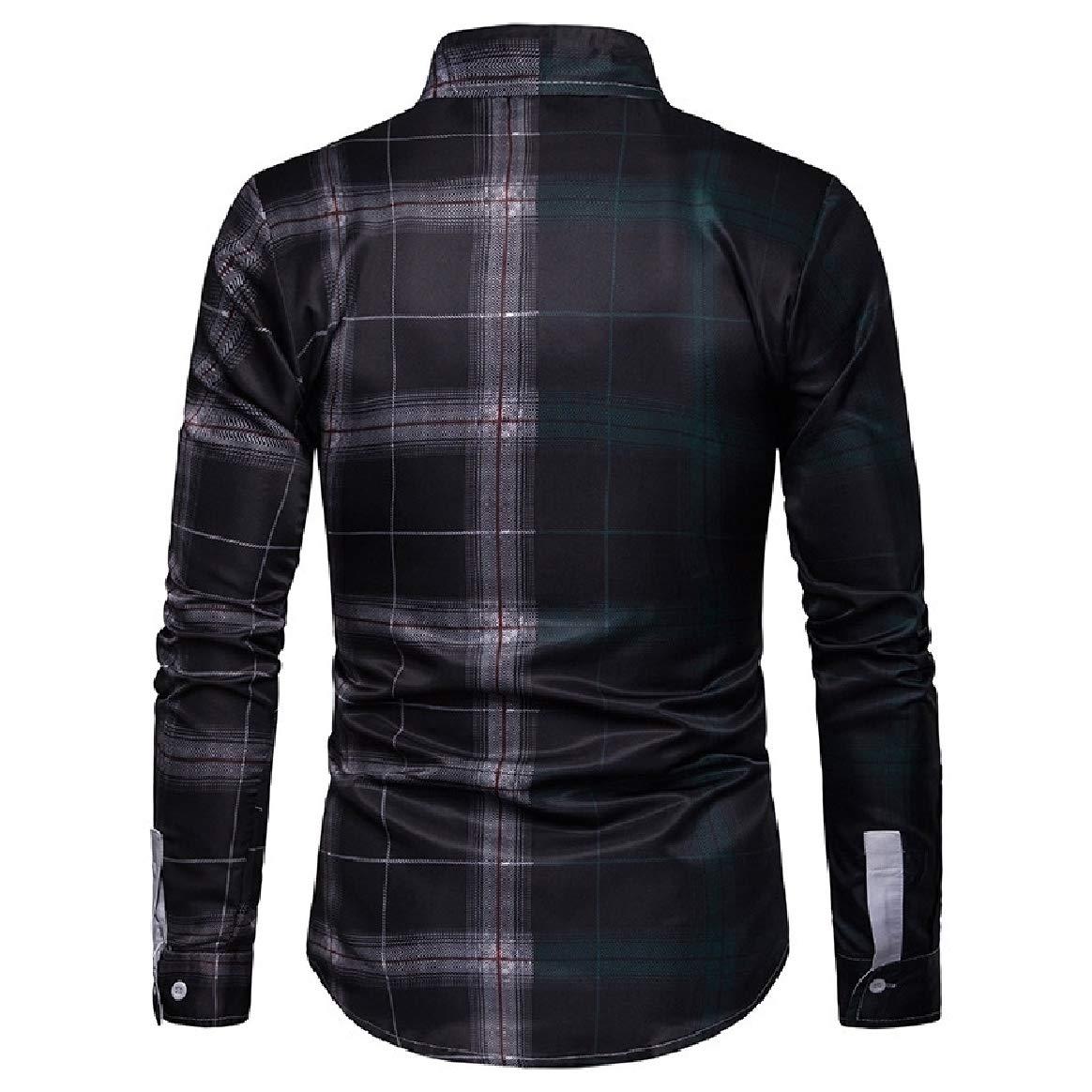 Tootless-Men Hit Color Plus Size Mid-Long Plaid Dress Shirts Top