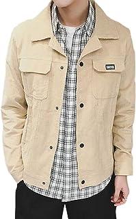 Jofemuho Men Outdoor Button Up Slim Fit Corduroy Casual Windbreaker Bomber Jacket Coat
