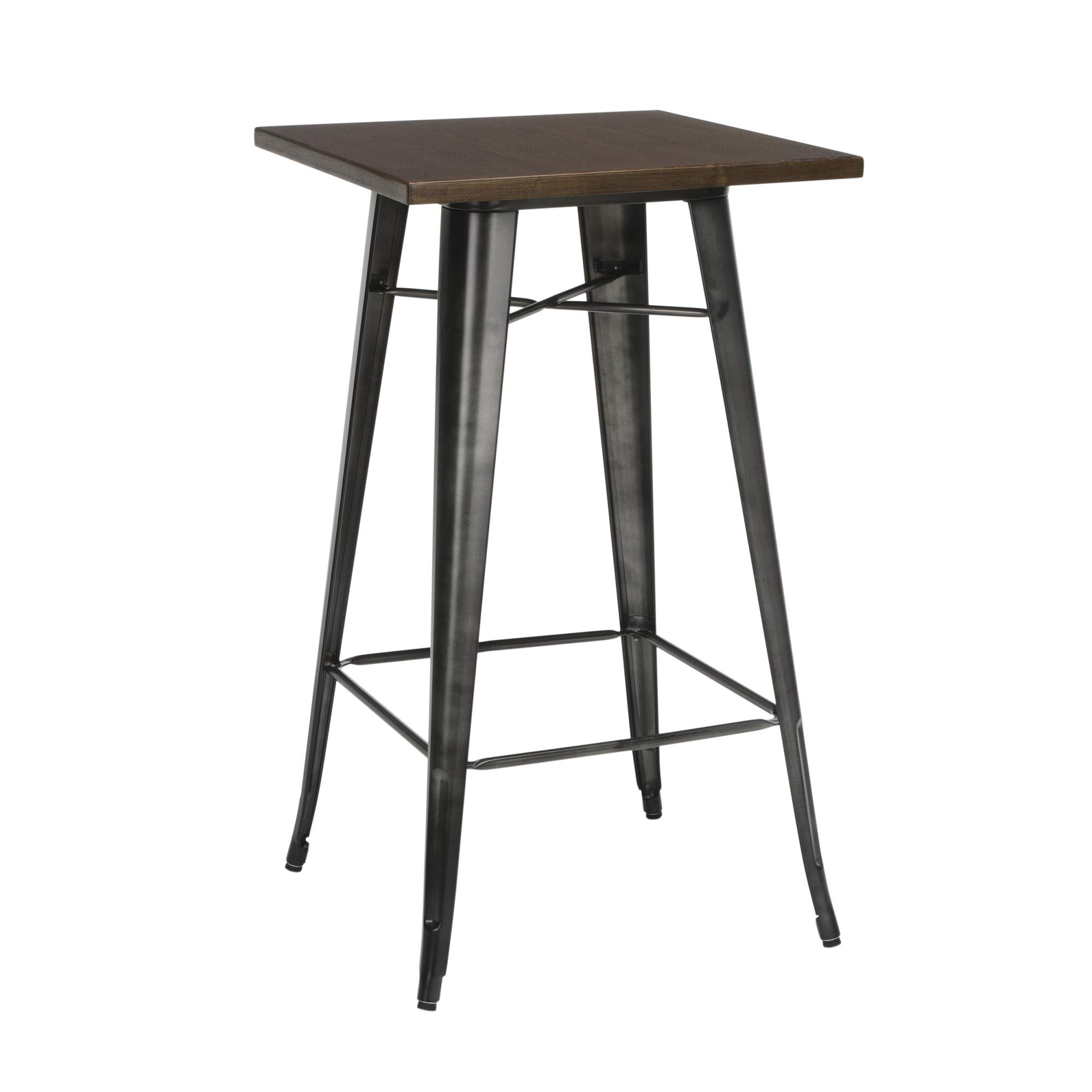 OFM 161 Collection Industrial Modern 24'' Square Bar Table with Footring, Wooden Tabletop with Galvanized Steel Frame, in Gunmetal/Walnut by OFM