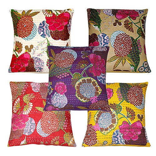Real Online Seller Indian Home Decor Pillow Cases,Indian Decorative Cushion Cover,Indian Floral Print Cushion Cover,Designer Toss Cover, Bed Decor Sofa Cover 5 Lot