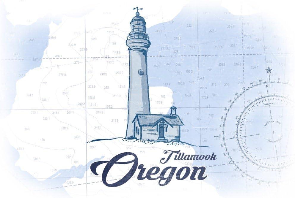 Oregon Lighthouse Coastal Icon 24x36 Giclee Gallery Print, Wall Decor Travel Poster Blue Tillamook