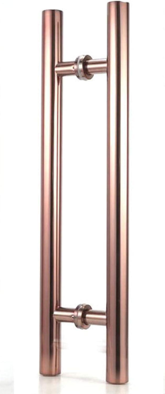 ADGSSJ Mango de puerta de vidrio de acero inoxidable de alto grado di¨¢metro 38 mm Cepillado/pulido ba?o ducha/puerta de madera Apoyabrazos Herrajes de vidrio, oro rosa, 600 mm de largo 400 agujer