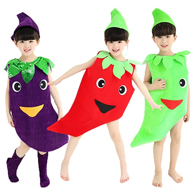 Amazing Halloween Costumes Children/Adult Vegetables Style Clothes Christmas  Cosplay Pepper Eggplant Clothes (L/