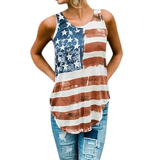 2f63953eee1 Fiaya Patriotic 4th of July Women American Flag Vintage Loose Sleeveless T-Shirt  Tank Tops