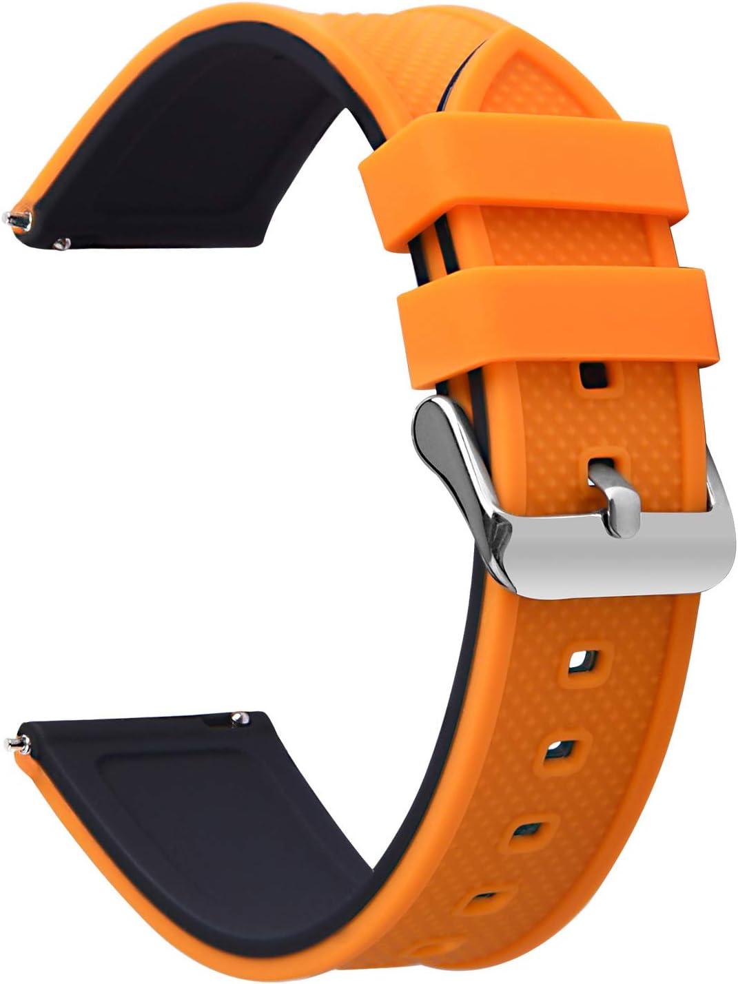 Fullmosa 8 Colores Correa de Reloj de Silicona de Liberación Rápida, Pulsera de Arco Iris de Goma Suave con Hebilla de Acero Inoxidable 18 mm 20 mm 22 mm 24 mm, Arriba Naranja/Abajo Negro, 20mm