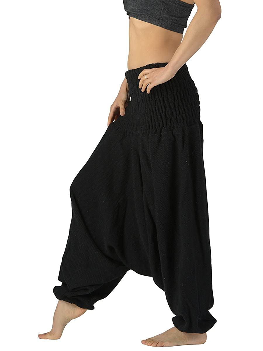 1ab8f5f481d Forgotten Tribes Low Crotch Indian Wool Harem Pants - Many Designs - Ethnic  Woolen Trousers (Black)  Amazon.co.uk  Clothing