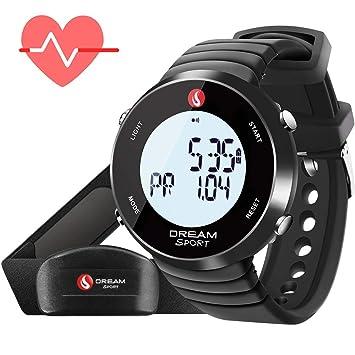 Dreamsport Pulsometro Pecho y Reloj, Reloj de Monitor de Ritmo cardíaco con Correa de Pecho y cronómetro/Alarma/Contador de calorías/7 días de ...