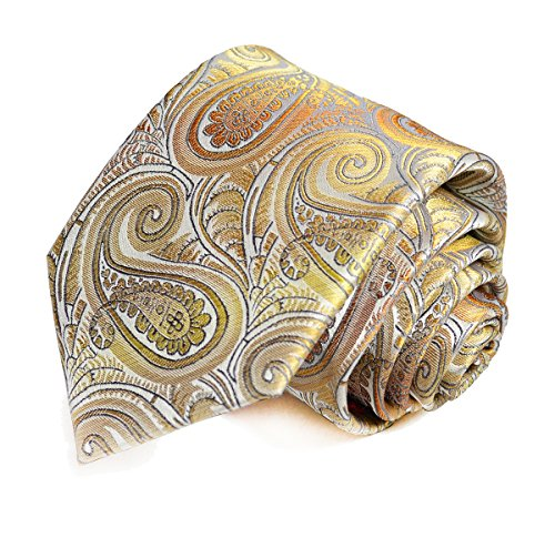 Extra Long 100% Silk Tie and Pocket Square . Gold Paisley (Tie Paisley Extra Long Gold)