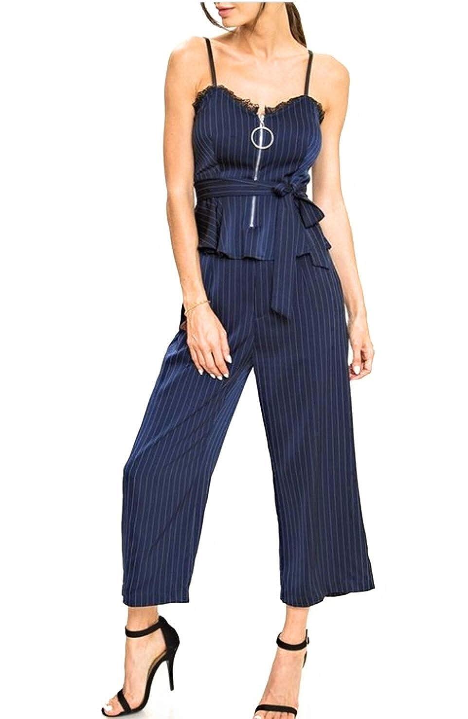 Jk Boutik Women Navy Pinstripes 2 pcs Set