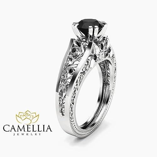 Black Diamond Wedding Ring.Amazon Com 1 Carat Black Diamond Unique Engagement Ring 14k White