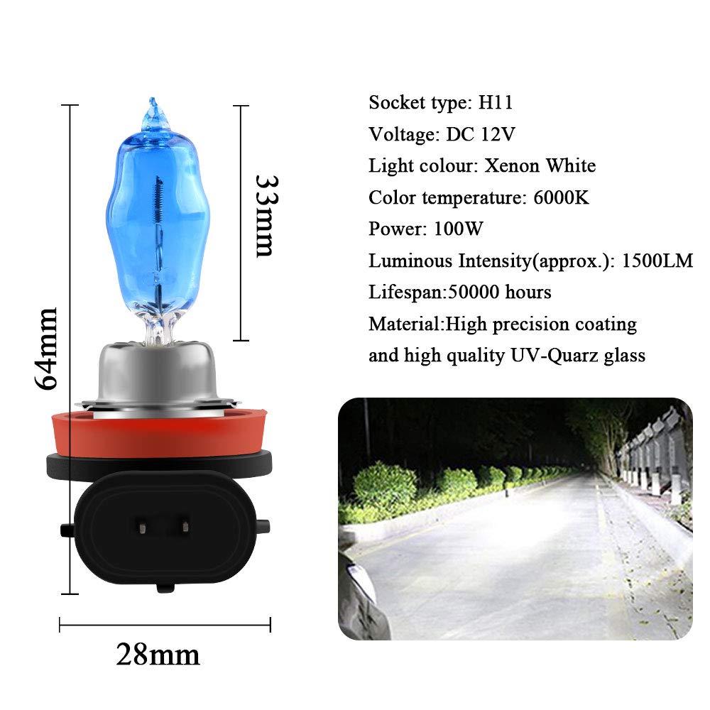 2Pcs H1 100W Halog/ène Phare Ampoules X/énon Blanc 6000K 12V Auto Voiture Feu de Brouillard DRL