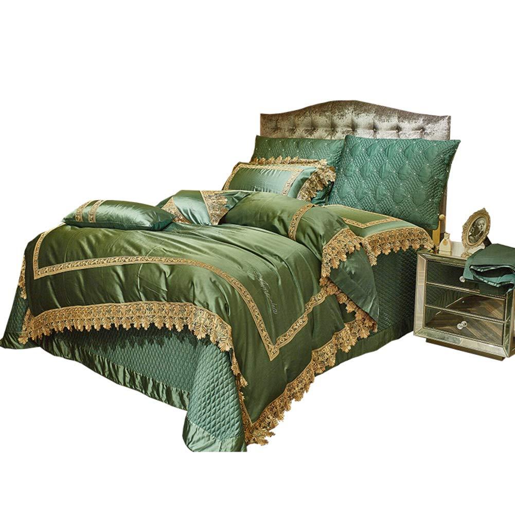ヨーロピアンスタイル 高級 寝具, ハイエンド グリーン 綿サテン レース トリミング ラップをベッド ジャカード 4 個セット 寝具カバーセット シート 枕カバー-A B07NYDDMV4