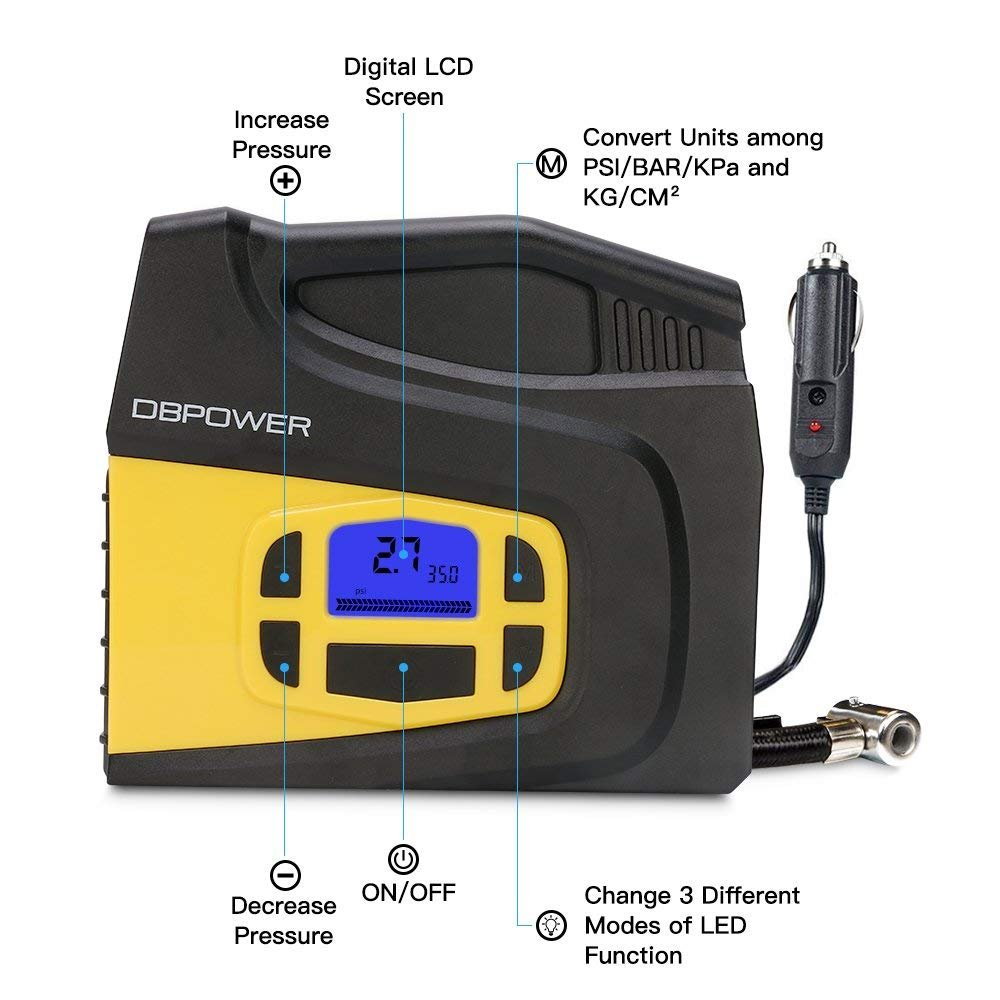 DBPOWER Portable 12V DC Tire Inflator, Digital LCD Display Air Compressor Pump for Cars, Bicycles and Balls with 3 Modes Function LED Lighting by DBPOWER (Image #2)