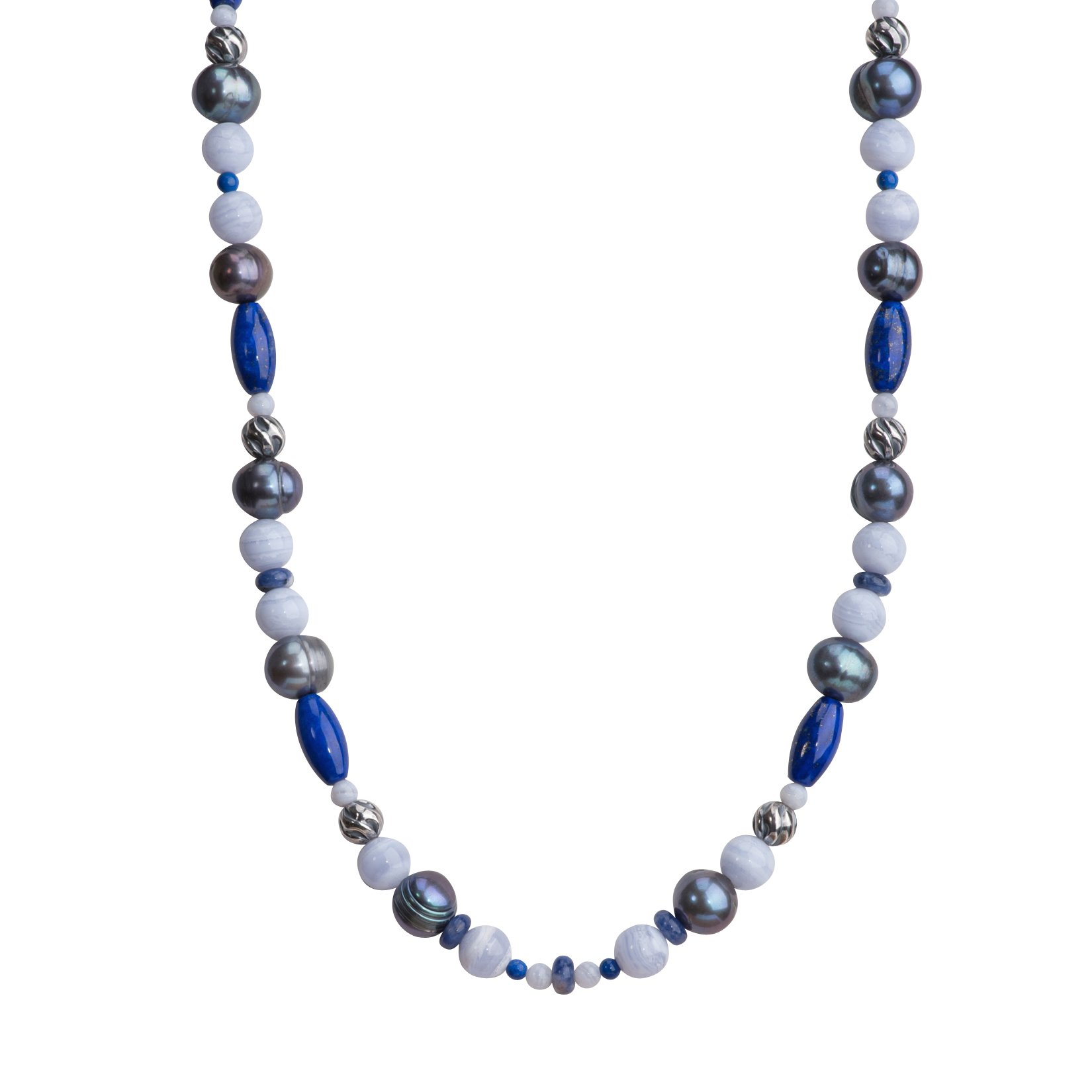 Carolyn Pollack Sterling Silver Shades of Blue Beaded Necklace, 30''