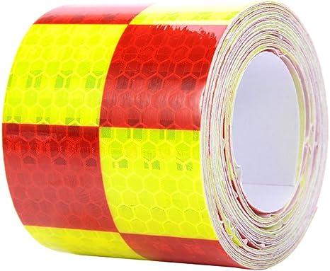 Molie 4 Farben 5cmx4m Reflektorband Sicherheitsband Warnklebeband Reflexionsfolie Reflexstreifen Selbstklebend Reflektierend Für Fahrrad Joggen Auto Pkw Lkw Red Auto