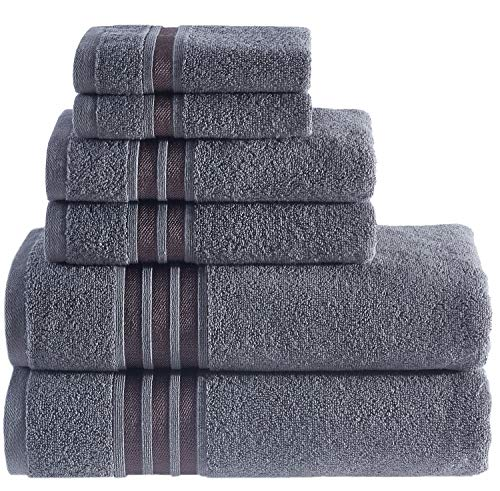 Hammam Linen Luxury Bath Towel Set - Cool Grey - Combed Cotton Hotel Quality Absorbent - 6 Pieces Towel Set - 100% Cotton Towels - 2 Large Bath Towels 27x54, 2 Hand Towels 16x28, 2 Wash Cloths 12x12