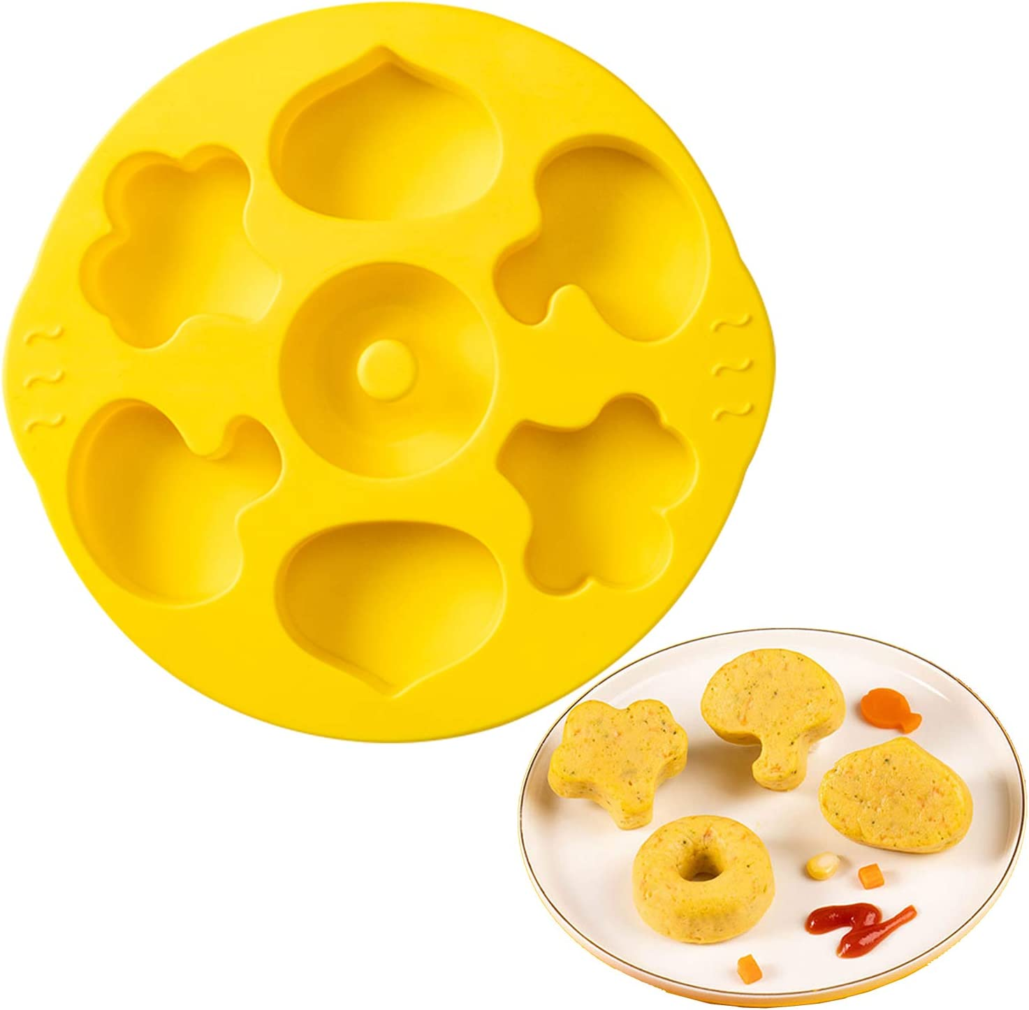 Blest Silicone Vegetable Mold for Baking Full-Size Cakes or Baby Foods,Non-Stick Bakeware Biscuit Mold,Donut Pan Muffin Mold Jelly Cake, Brownie &Chocolate Tray Food-Grade BPA Free