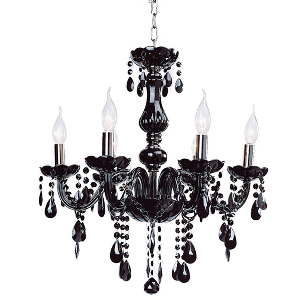 eshion Classic Vintage Crystal Candle Chandeliers Lighting 6 Lights Pendant Ceiling Fixture Lamp for Elegant Decoration (Black)