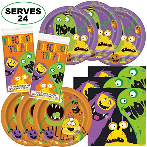 Silly Halloween Monsters Holiday Super Bundle Party Supplies, Serves 24 Guests for $<!--$29.99-->