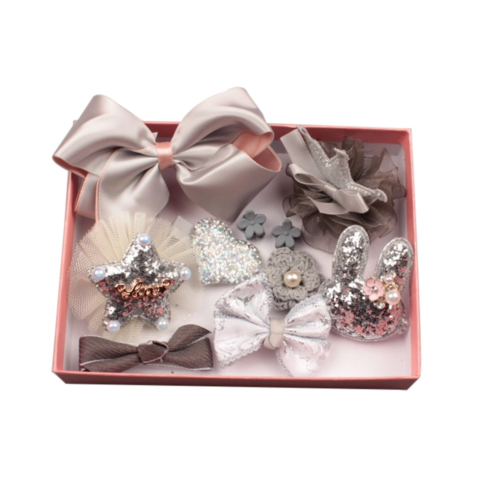 heaven2017 10 Pcs Baby Girl's Bow Hairpin Ribbon Bowknot Flower Hair Clip with Gift Box for Daily Life, Party, Birthday, Baby Shower, Christmas Day (Gris)