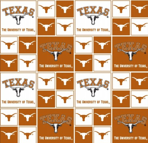 Cotton College University of Texas Longhorns Print Cotton Fabric By the Yard College Cotton Fabric