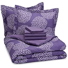 AmazonBasics 7-Piece Bed-In-A-Bag - Full/Queen, Purple Floral