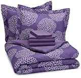 Purple Bed in a Bag AmazonBasics 7-Piece Bed-In-A-Bag - Full/Queen, Purple Floral